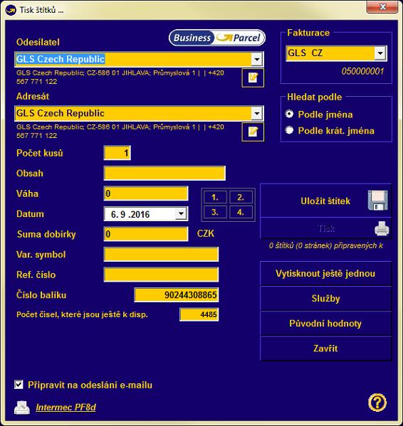 b060252d6 Pokud posíláte balíky pod více klientskými jmény, vyberte zde aktuální.  Novou (další) adresu odesílatele můžete zadat tlačítkem změna, které je  umístěno ...